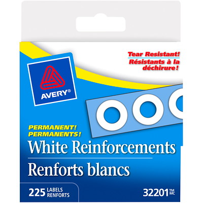 "AVERY REINFORCEMENT WHT 225/BX 1/4"" ROUND LABEL"