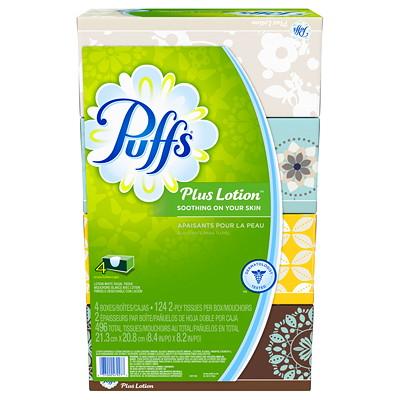Puffs 2-Ply Plus Lotion Flat Box Facial Tissue, White, 124 Sheets/BX, 4/PK