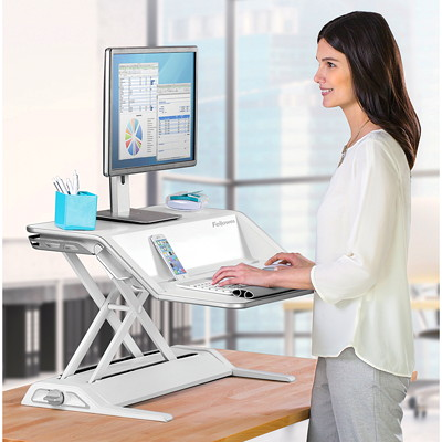 "Fellowes Lotus Sit-Stand Workstation, White	 FEATURES 22 HEIGHT SETTINGS 17"" VERTICAL ADJUSTMENT"