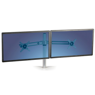 "Fellowes Monitor Arm Kit  ADJUSTS UP TO 16"" ABVE SURFACE EACH ARM HOLDS 27""  17 LBS"