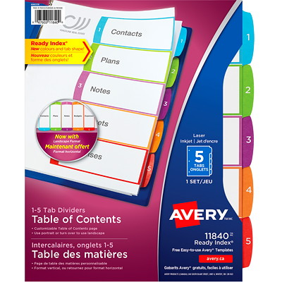 Avery Ready Index Customizable Table of Contents Dividers, White with Multi-Coloured Tabs, Numbered (1-5), Letter-Size, 5-Tabs/ST, 1-Set/PK  1-5 NUMBERED TABS  PAPER CONTEMPORARY MULTI COLOURS