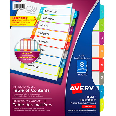 Avery Ready Index Customizable Table of Contents Dividers, White with Multi-Coloured Tabs, Numbered (1-8), Letter-Size, 8-Tabs/ST, 1-Set/PK  1-8 NUMBERED TABS  PAPER CONTEMPORARY MULTI COLOURS