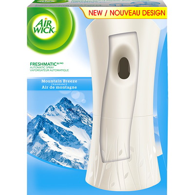 Trousse d'assainisseur d'air en vaporisateur automatique FreshMatic Air Wick WITH REFILL MOUNTAIN BREEZE CASE OF 4 KITS