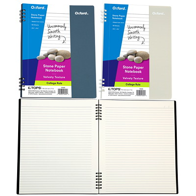 Oxford Stone Paper Notebook COLLEGE RULE BLUE OR GREY 60 SHEETS