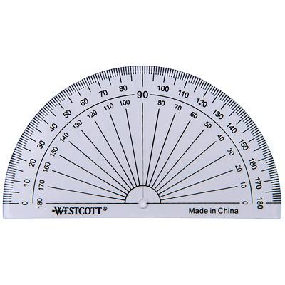 Rapporteur d'angle 180 degrés Westcott BASE BISEAUTEE  FACILE A LIRE