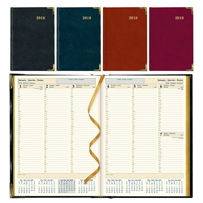 Brownline Executive Weekly Appointment Planner  ASST'D BLK BURGUNDY TRILINGUAL 50% PCW