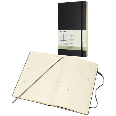 Moleskine Student/Academic 2017-2018 Weekly Planner BLACK  HARD COVER PERFECT BINDING  2PPW