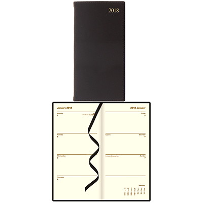 Letts of London Bonded Leather Slim Weekly Upright Planner 6-5/8 X3-1/4 UPRIGHT HRD COVER BLACK ENGLISH FSC CERTIFIED