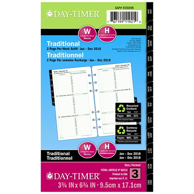 Day-Timer Portable-Size Loose-Leaf Planner Refill 3.75X6.75 BILINGUAL 30% PCW