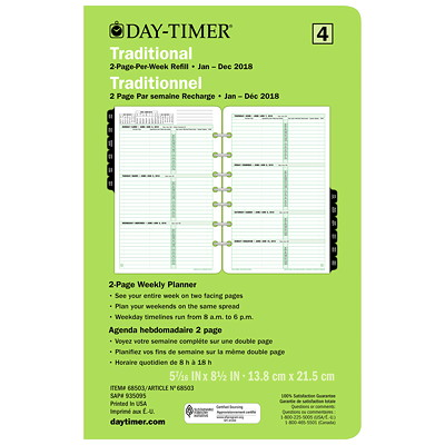 Day-Timer Desk-Size Loose-Leaf Planner Refill 5.5X8.5 30% PCW