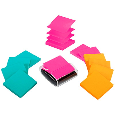 "Post-it 3"" x 3"" Pop-Up Notes Dispenser Value Pack 3X3 SUPER STICKY 12 PADS WHITE W/ASSORT RIO COLOR PADS"