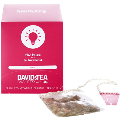 DAVIDsTEA Sachets Boxed The Buzz Maté Tea, 12/Box 12/BOX INDIVIDUALLUY  WRAPPED