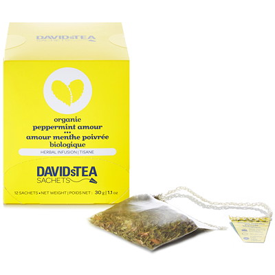 DAVID'S TEA PEPPERMINT AMOUR 1 12/BOX INDIVIDUALLUY  WRAPPED
