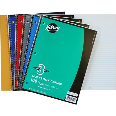 """Hilroy Executive Coil 3-Subject Notebook, Assorted Colours (No Colour Choice On Delivered Orders), 10 1/2"""" x 8"""", 108 pages RULED W/MARGIN COIL BOUND"""