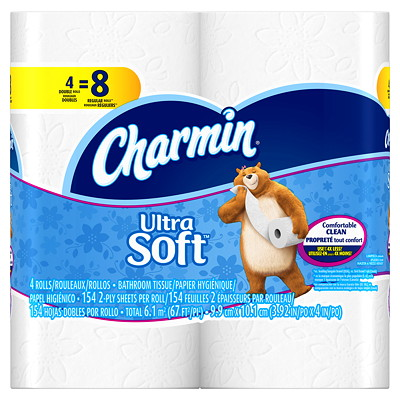 Charmin Ultra Soft 2-Ply White Bathroom Tissue  164 SHEETS/ROLL