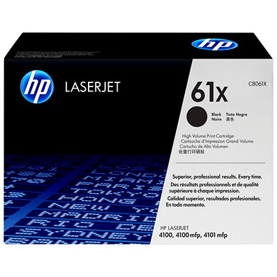 HP 61X (C8061X) Black High Yield Original LaserJet Toner Cartridge SERIES YIELD 10K 61X