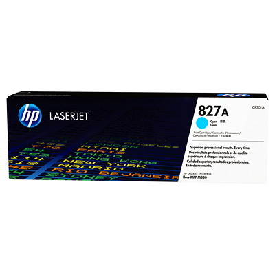 HP 827A (CF301A) Cyan Original LaserJet Toner Cartridge COLOR LASERJET ENTERPRISE FLOW M880 MFP SERIES  YIELD 32 000