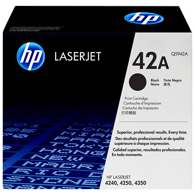 HP 42A (Q5942A) Black Original LaserJet Toner Cartridge LASERJET 4250 & 4350 SERIES YIELD 10K PAGES SMART PRINTING