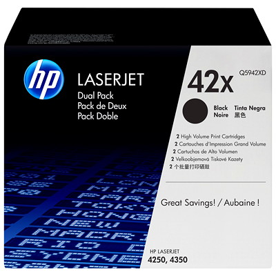 HP 42X (Q5942XD) Black High Yield Original LaserJet Toner Cartridges, 2 pack 4250  4350 SERIES YIELD 20K X 2
