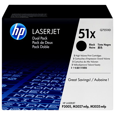 HP 51X (Q7551XD) Black High Yield Original LaserJet Toner Cartridges, 2 pack YIELD 2X13 000 FOR M3027 M3035 P3005 SERIES