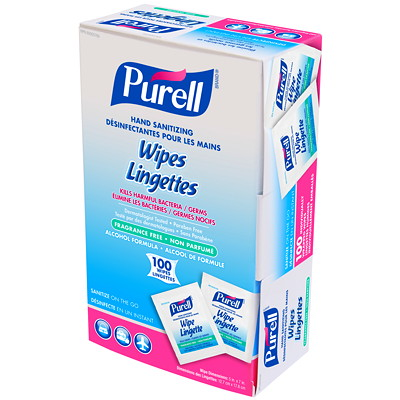 Purell Individually-Wrapped Hand Sanitizing Wipes, 62% Alcohol Content, 100/BX 100/BOX