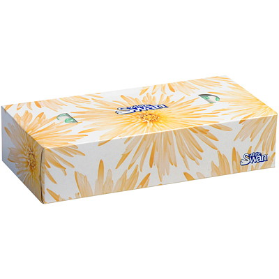 White Swan 2-Ply Flat Box Facial Tissue, White, 100 Sheets/BX 2-PLY  7.5X8.4  88%PCW