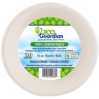 Eco Guardian Compostable Bowls, 16 oz.  COMPOSTABLE 20/PK