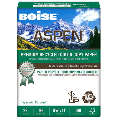 Boise Aspen Premium Recycled Colour Copy Paper, 28 lb., Letter-Size, Ream 8.5X11  96BR  28LB. PK/500 MADE W/OUT THE USE OF CHLORINE