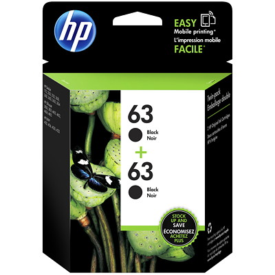 HP 63 (T0A53AN) Black Original Ink Cartridges, 2/Pk 2 X 190 PG YIELD