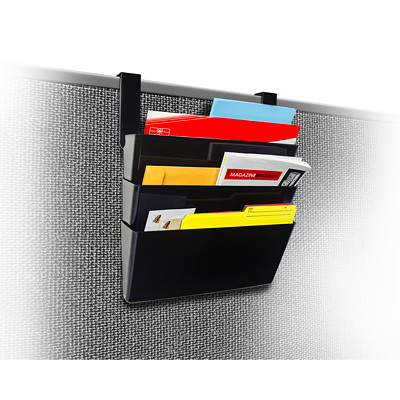 Storex Over the Panel Wall File Pockets with Partition Hangers, Black, 3/PK LEGAL SIZE PACKAGE OF 3