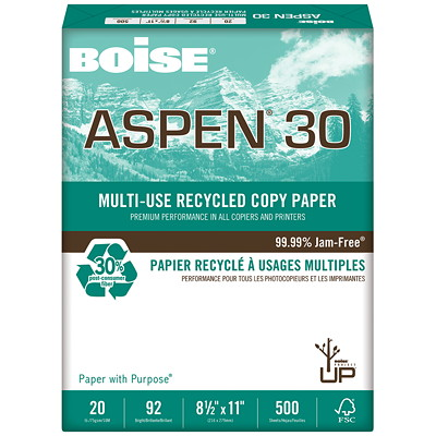 Papier recyclé à usages multiples Aspen 30 Boise, 20lb, format lettre, emb. de 500 30 % MAT. RECYC. POSTCONSOMM. 20 LB  BRILLANCE 92  500/RAME