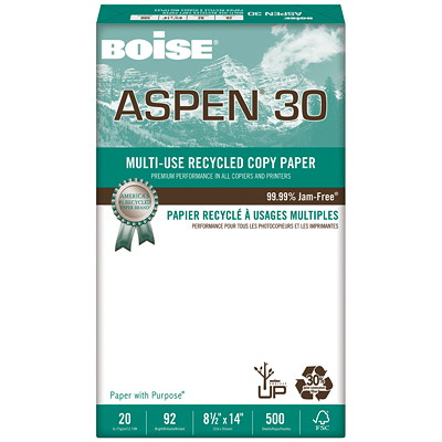 Boise Aspen 30 Multi-Use Recycled Copy Paper, 20 lb., Legal-Size, 500 Sheets/PK 30% PC WASTE.20LB 92 BRIGHT. 500/PKG