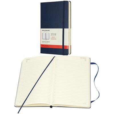 Moleskine 2018 Large Daily Planner  SAPPHIRE BLUE HARD