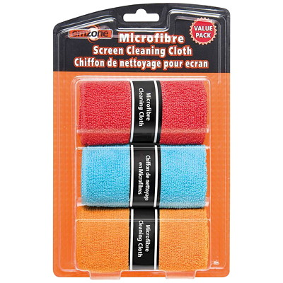 Emzone Microfibre Screen Cleaning Cloths, 3/Pk GENTLY DUSTS AND CLEANS 3 CLOTH VALUE PACK