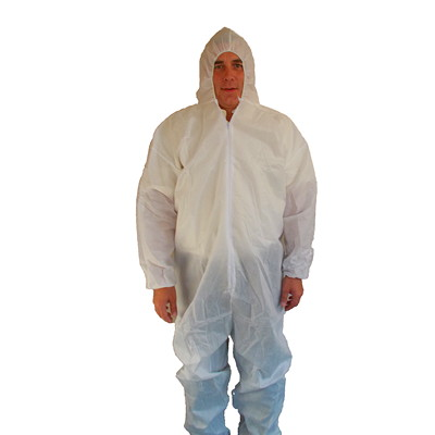 Dentec SMS White Protective Coveralls ATTACHED ELASTIC HOOD ELASTIC BACK & WRIST
