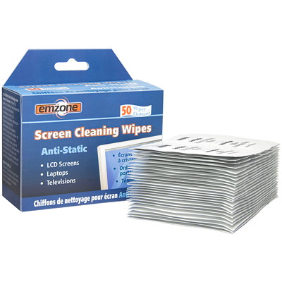 Emzone Anti-Static Screen Cleaning Wipes, 50/Pk CLEANS DUST AND SMUDGE 50 INDIVIDUAL PACKETS