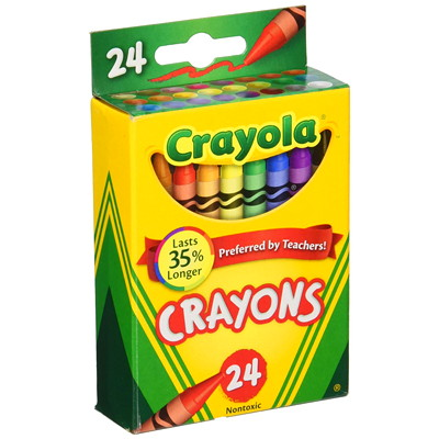 Crayola Crayons, Assorted Colours, 24/PK NON-TOXIC 3-5/8 INCHES LONG