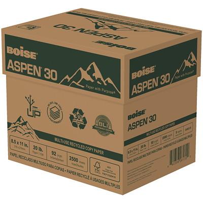 Boise Aspen 30 Multi-Use Recycled Copy Paper, 20 lb., Letter-Size, 5 Reams/CT 20 LB; 92 BRIGHT  30%PCW