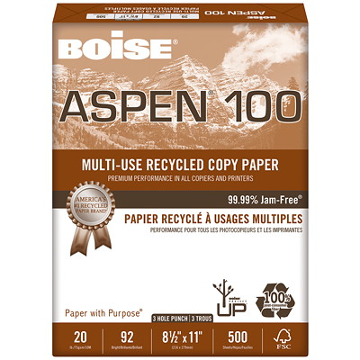 Boise Aspen 100 Multi-Use Premium Recycled Paper, White, 20 lb., Letter-size, 3-hole Punched, Ream  100% POST-CONSUMER FIBER