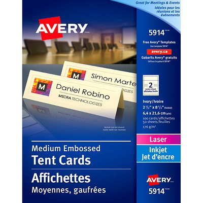 """Avery Embossed Tent Cards, Ivory, 2 1/2"""" x 8 1/2"""" (Folded), 2 Cards/Sheet, 50 Sheets/BX  AVERY  PACK OF 100 EMBOSSED CARD STOCK MED. SIZE"""