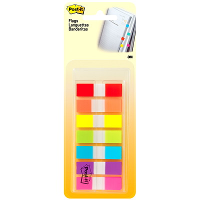 """Post-it Standard Flags, With On-the-Go Dispenser, Assorted Rainbow Colours, 1/2"""" x 1 7/10"""", 190 Flags/PK POST-IT 190 FLAGS/PACK .47 IN X 1.7"""