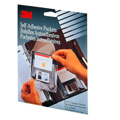 """3M Self-Adhesive Pockets, Clear, 3 1/5"""", 10/PK FOR 3.5 DISKETTE SCRATCH REST FOR BINDERS & ORGANIZERS"""