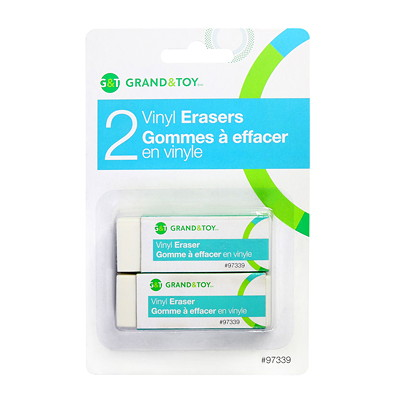Grand & Toy Vinyl Erasers, White, 2/PK