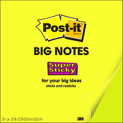 "3M BIG NOTE 22""X22""  GREEN SUPER STICKY NEON GREEN"
