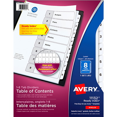 Avery Ready Index Customizable Table of Contents Dividers, Black and White, Numbered (1-8), Letter-Size, 8 Tabs/ST, 1 Set/PK LASER/INK JET  BLACK & WHITE 8 TABS  1 SET/PKG