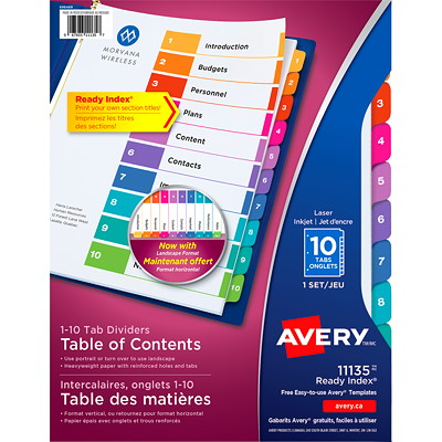 Avery Ready Index Customizable Table of Contents Dividers, Multi-Coloured, Numbered (1-10), Letter-Size, 10 Tabs/ST, 1 Set/PK FR BINDR REINFORCD TABS&HOLES INKJET & LASER AVERY  20% PCW
