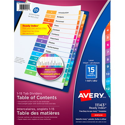 Avery Ready Index Customizable Table of Contents Dividers, Multi-Coloured, Numbered (1-15), Letter-Size, 15 Tabs/ST, 1 Set/PK FR BINDR REINFORCD TABS&HOLES INKJET & LASER AVERY  20% PCW