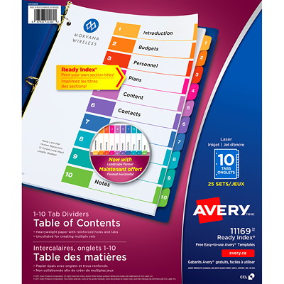 Avery Ready Index Customizable Table of Contents Dividers, Multi-Coloured, Numbered (1-10), Uncollated, Letter-Size, 10 Tabs/ST, 25 Sets/BX 25 UNCOLLATED SETS OF 10 TABS 20% PCW