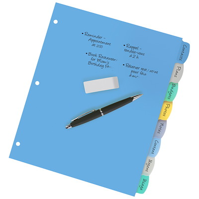 Avery Big Tab Write & Erase Plastic Dividers, Multi-Coloured, Letter-Size, 8-Tabs/ST, 1-Set/PK REFERENCE DIVIDERS 1 SET/PKG