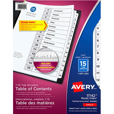 Avery Ready Index Customizable Table of Contents Dividers, Black and White, Numbered (1-15), Letter-Size, 15 Tabs/ST, 1 Set/PK WHITE TABLE OF CONTENTS 1-15 30% PCW